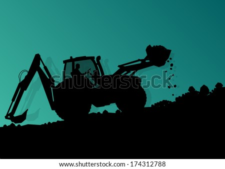 Excavator bulldozer loader tractor and worker digging at industrial construction site vector background illustration - stock vector
