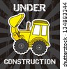 excavator cartoon over black background. vector illustration - stock