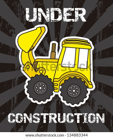 excavator cartoon over black background. vector illustration - stock vector