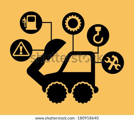 excavator cartoon over yellow background. vector illustration - stock vector