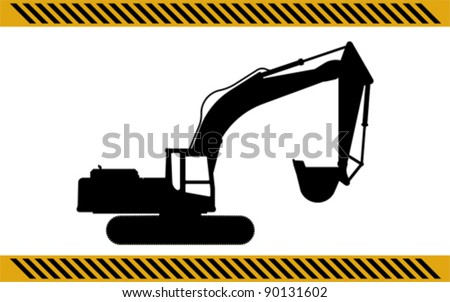 excavator construction machinery equipment isolated - stock vector