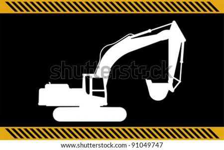 excavator construction machinery equipment isolated - stock vector