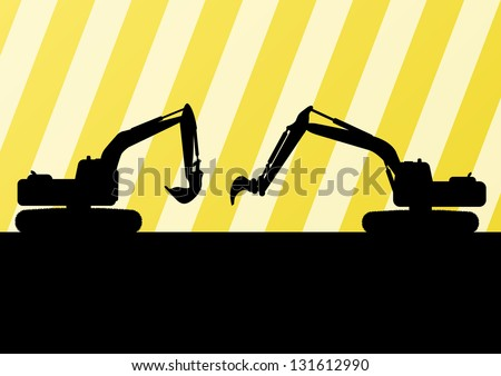 Excavator detailed silhouettes illustration in construction site background vector
