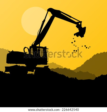 Excavator digger in action vector background concept - stock vector
