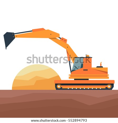 Construction Equipment In Flat Style Vector Illustration On A White Background