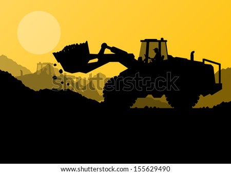 Excavator loader at construction site with raised bucket vector background - stock vector