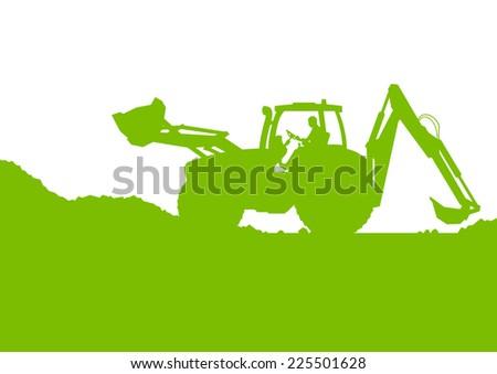 Excavator loader digging at industrial construction site vector background illustration ecology card concept - stock vector