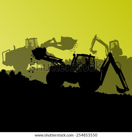 Excavator loader hydraulic machine tractors and bulldozer worker digging at industrial construction site vector abstract background - stock vector