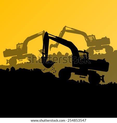 Excavator loader hydraulic machine tractors and workers digging at industrial construction site vector abstract background