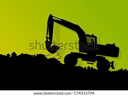 Excavator loader tractor and worker digging at industrial construction digging site vector background illustration - stock vector