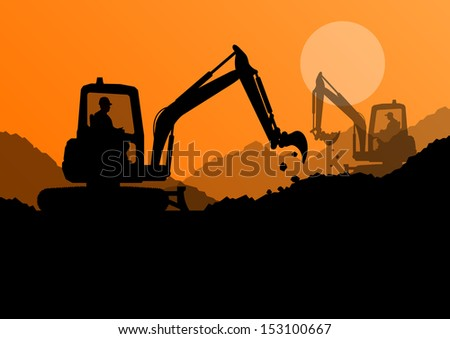Excavator loaders and workers digging at construction site with raised bucket vector background