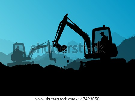 Excavator loaders and workers digging at construction site with raised bucket vector background illustration - stock vector