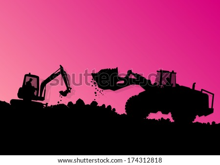 Excavator loaders hydraulic machines tractors and workers digging at industrial construction site vector background illustration - stock vector
