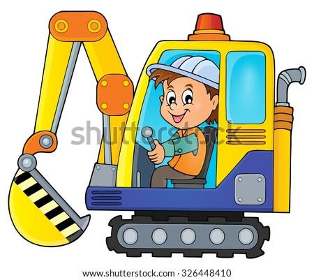 Excavator operator theme image 1 - eps10 vector illustration. - stock vector