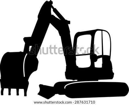 excavator sillhouette illustration - stock vector