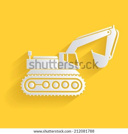 Excavator symbol,clean vector - stock vector