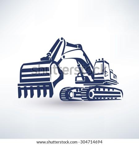 excavator symbol, stylized vector silhouette - stock vector