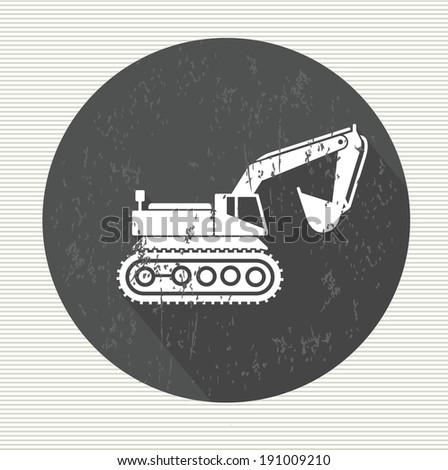Excavator symbol,vector - stock vector