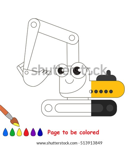 Excavator To Be Colored The Coloring Book Educate Preschool Kids With Easy Kid Educational
