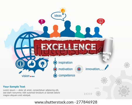 Excellence concept and group of people. Set of flat design illustration concepts for business, consulting, finance, management, human resources.   - stock vector