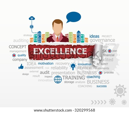 Excellence concept word cloud and business man. Excellence design illustration concepts for business, consulting, finance, management, career. - stock vector