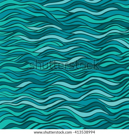 Excellence fantasy hand-drawn vector illustration with waves, hairs, seaweed. Can be used for textile, t-shirt design, backdrop, banner, poster, label.