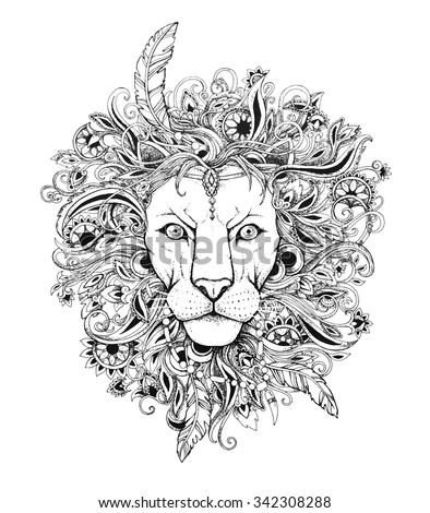 Excellent lion graphic style with patterned mane and herbal ethnic ornaments. Dotwork - stock vector