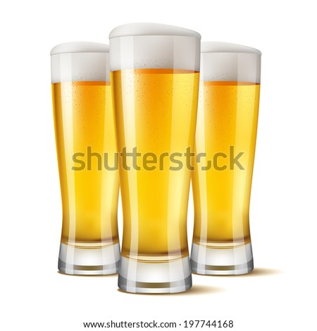 Excellent Realistic Isolated 3 glasses of beer. Vector illustration