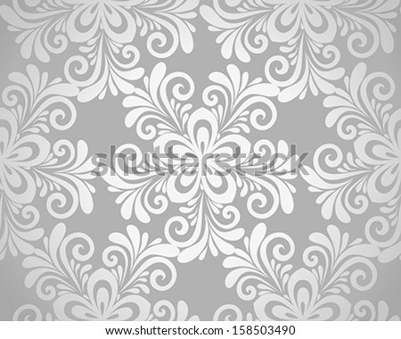 excellent seamless floral background with flowers in silver. Many similarities to the author's profile - stock vector