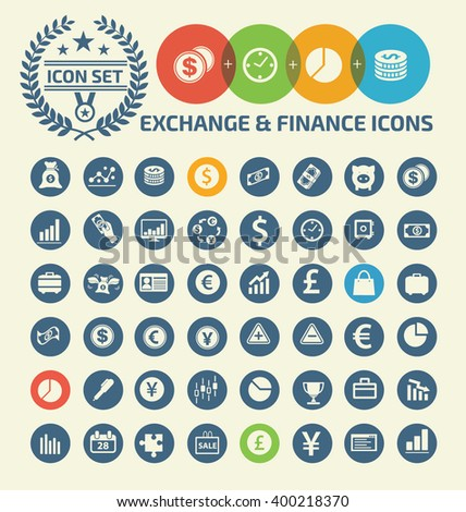 Exchange and financial icons design,clean vector - stock vector
