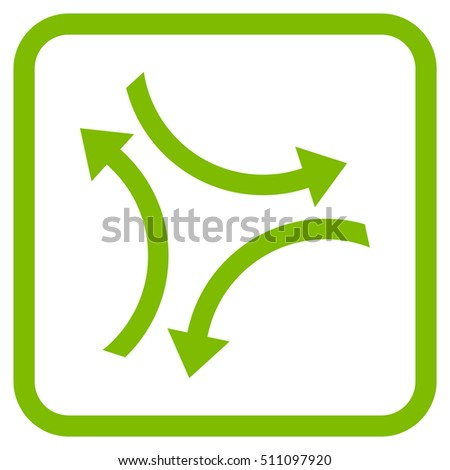Exchange Arrows eco green vector icon. Image style is a flat pictograph symbol inside a rounded square frame on a white background.