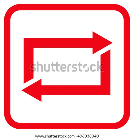 Exchange Arrows red vector icon. Image style is a flat pictogram symbol inside a rounded square frame on a white background.