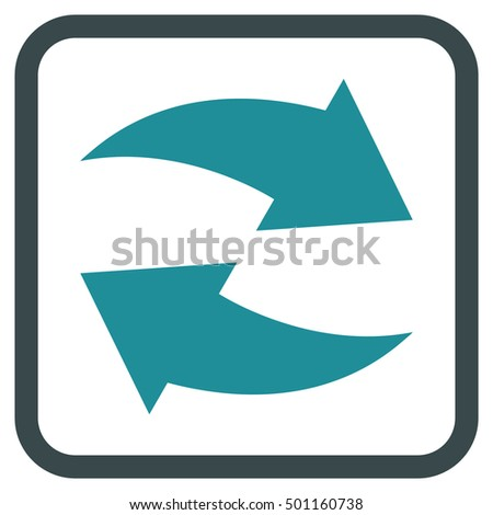 Exchange Arrows soft blue vector icon. Image style is a flat pictograph symbol inside a rounded square frame on a white background.