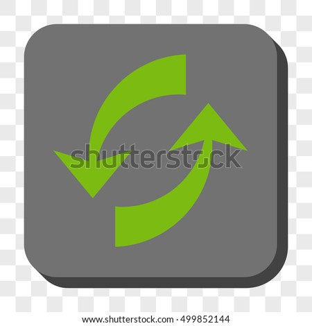 Exchange Arrows square icon. Vector pictogram style is a flat symbol centered in a rounded square button, light green and gray colors, chess transparent background.