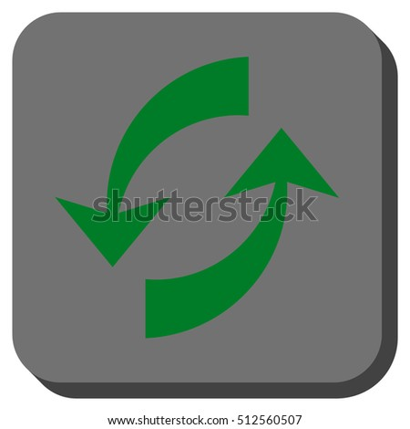 Exchange Arrows vector icon. Image style is a flat icon symbol in a rounded square button, green and gray colors.