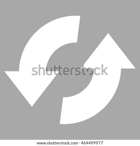 Exchange Arrows vector icon. Image style is flat exchange arrows pictogram symbol drawn with white color on a silver background.