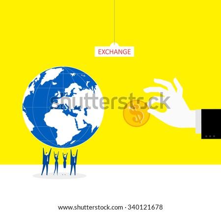 Exchange between money and whole globe. - stock vector