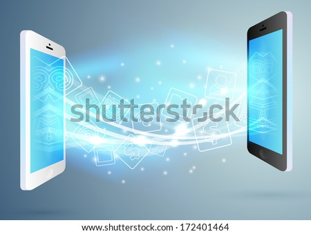 Exchange between two phones - concept. Vector illustration