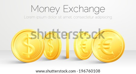 Exchange concept. Vector two sides gold coin - stock vector