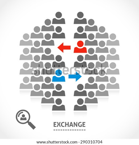 Exchange conceptual vector illustration. Two teams are exchanging one of their guys or players.