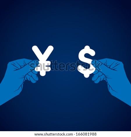 exchange dollar and yen currency vector - stock vector