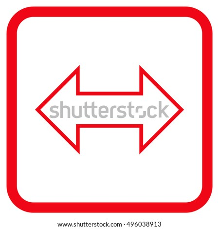 Exchange Horizontal red vector icon. Image style is a flat icon symbol in a rounded square frame on a white background.