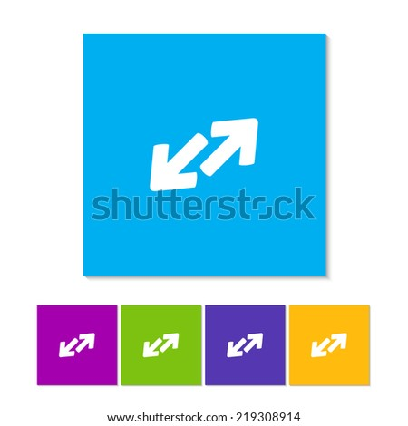 Exchange icon in flat style. Orange, purple, magenta, violet, yellow, green and blue color buttons - stock vector