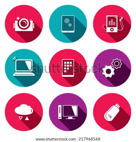 exchange of information technology flat icons set  - stock vector
