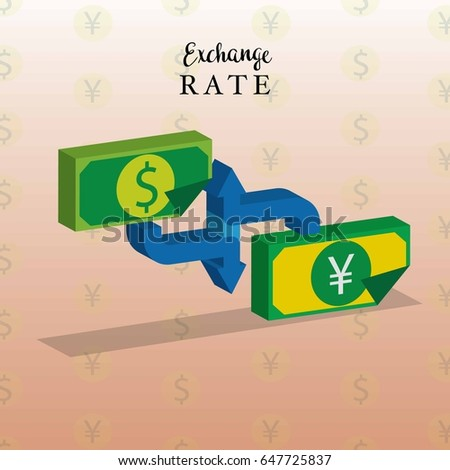 exchange rate currency dollar, euro, yen and pound sterling concept. vector illustration