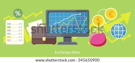 Exchange rates design flat concept. Exchange icon, currency and money exchange, foreign exchange, currency rates, business finance, money financial, web market, banking infographic illustration - stock vector