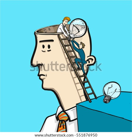 exchanging ideas in brain - conceptual vector illustration of two man changing bulb in head
