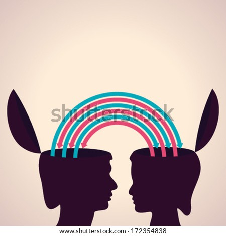 exchanging thoughts with each other concept stock vector - stock vector