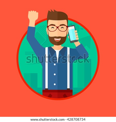 Excited businessman raising his arm while getting good news on mobile phone near the growth chart. Business success concept. Vector flat design illustration in the circle isolated on background. - stock vector