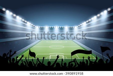 Excited crowd of people at a soccer stadium.  - stock vector